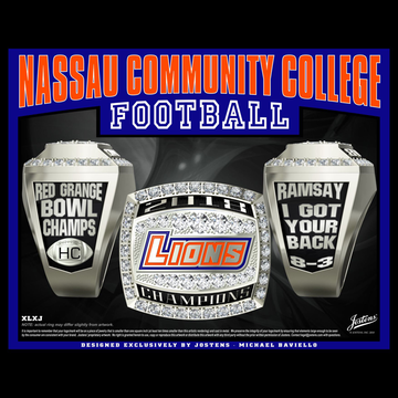Nassau Community College Men's Football 2018 Red Grange Bowl Championship Ring