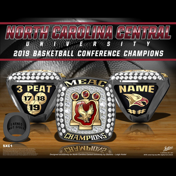North Carolina Central University Men's Basketball 2019 MEAC Championship Ring
