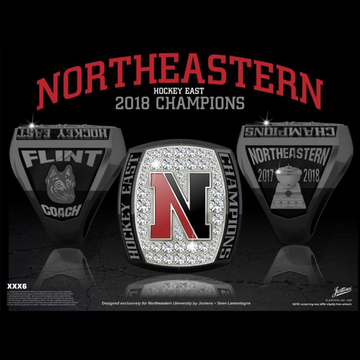 Northeastern University Men's Ice Hockey 2018 Hockey East Championship Ring