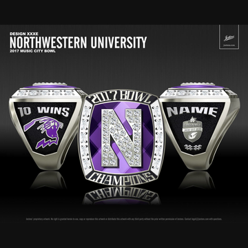Northwestern University Men's Football 2017 Music City Bowl Championship Ring