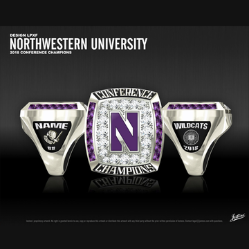 Northwestern University Women's Fencing 2018 Conference Championship Ring
