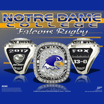 Notre Dame College Men's Rugby 2017 National Championship Ring