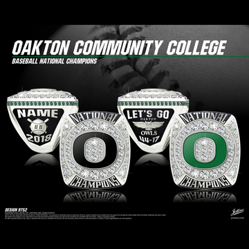 Oakton Community College Men's Baseball 2018 National Championship Ring