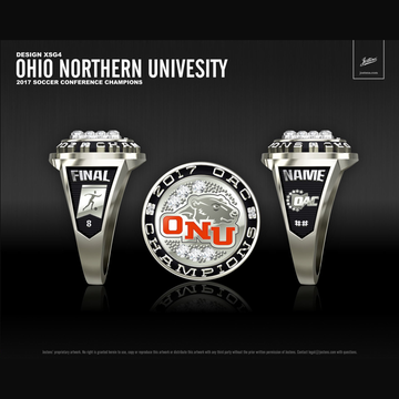 Ohio Northern University Women's Soccer 2017 OAC Championship Ring