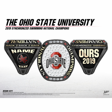 Ohio State University Women's Synchronized Swimming 2019 National Championship Ring