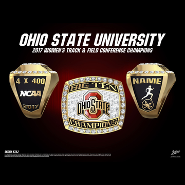 Ohio State University Women's Track & Field 2017 Big Ten Championship Ring