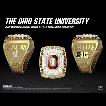 Ohio State University Women's Track & Field 2019 Big Ten Championship Ring