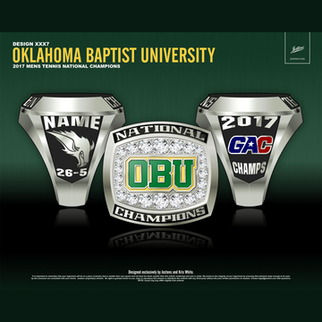 Oklahoma Baptist University Men's Tennis 2017 National Championship Ring