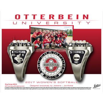 Otterbein University Women's Softball 2017 OAC Championship Ring