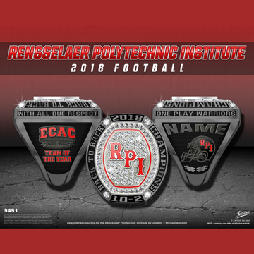 Rensselaer Polytech Institute Men's Football 2018 ECAC Championship Ring