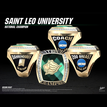 Saint Leo University Men's Swimming & Diving 2019 National Championship Ring