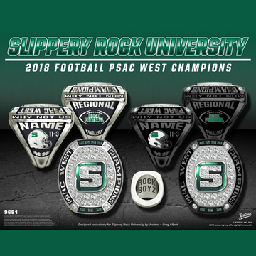 Slippery Rock University Men's Football 2018 Psac West Championship Ring