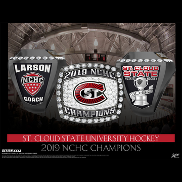 St. Cloud State University Men's Ice Hockey 2016 NCHC Championship Ring
