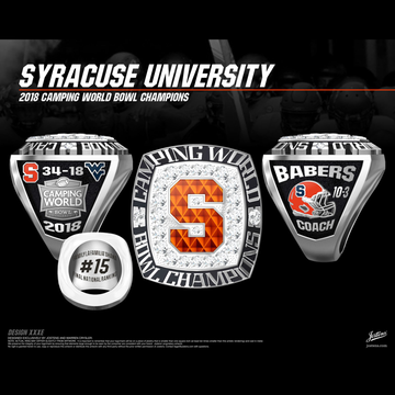 Syracuse University Men's Football 2018 Camping World Bowl Championship Ring