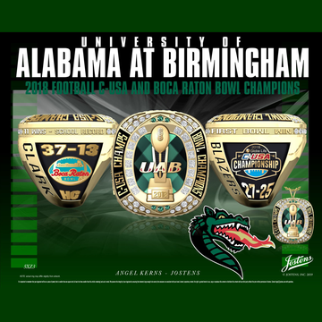 UAB Men's Football 2018 Conference USA Championship Ring