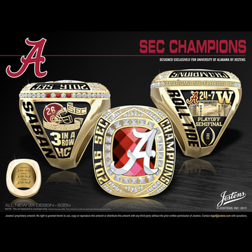University of Alabama Men's Football 2016 SEC Championship Ring