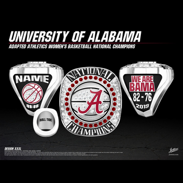 University of Alabama Women's Basketball 2019 Adapted Athletics National Championship Ring