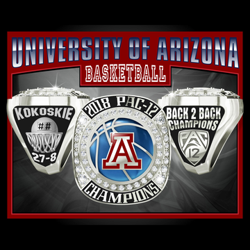 University of Arizona Men's Basketball 2018 Pac-12 Championship Ring