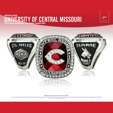 University of Central Missouri Men's Baseball 2016 Regional Championship Ring