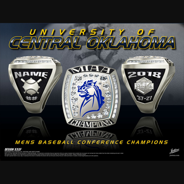 University of Central Oklahoma Men's Baseball 2018 Conference Championship Ring