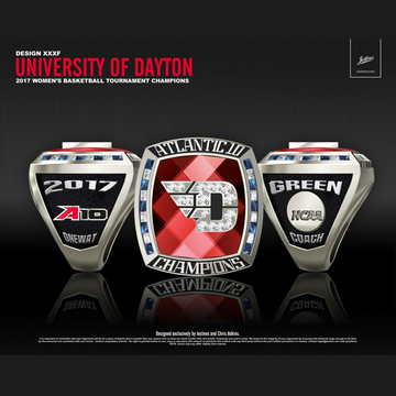 University of Dayton Women's Basketball 2017 Atlantic 10 Championship Ring