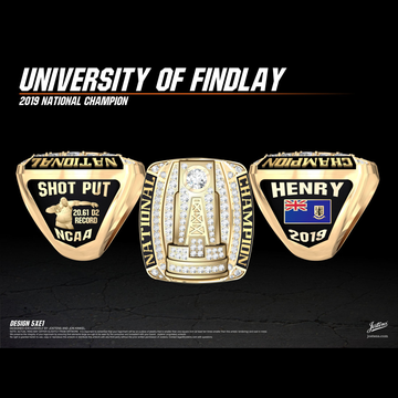 University of Findlay Men's Track & Field 2019 National Championship Ring