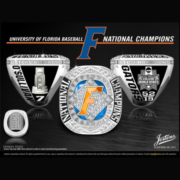 University of Florida Men's Baseball 2017 National Championship Ring