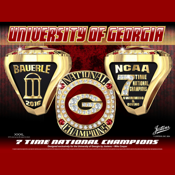 University of Georgia Women's Swimming & Diving 2016 National Championship Ring