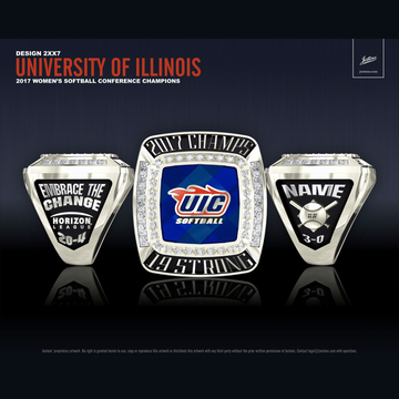 University of Illinois at Chicago Women's Softball 2017 Horizon League Championship Ring