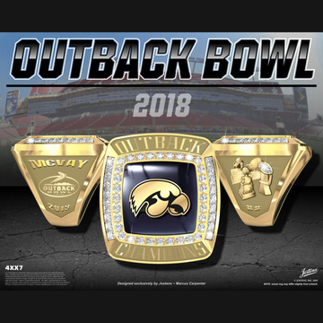 University of Iowa Men's Football 2018 Outback Bowl Championship Ring