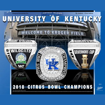 University of Kentucky Men's Football 2018 Citrus Bowl Championship Ring