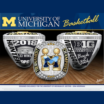 University of Michigan Men's Basketball 2018 Big Ten Tournament Championship Ring