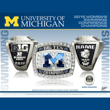 University of Michigan Women's Swimming & Diving 2016 Big Ten Championship Ring