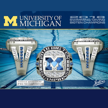 University of Michigan Women's Swimming & Diving 2018 Big Ten Championship Ring