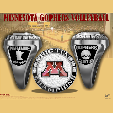 University of Minnesota Women's Volleyball 2018 Big Ten Championship Ring