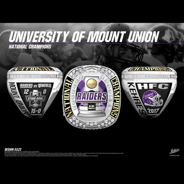 University of Mount Union Men's Football 2017 National Championship Ring
