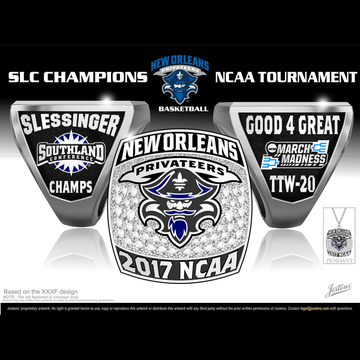 University of New Orleans Men's Basketball 2017 Southland Championship Ring