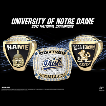 University of Notre Dame Coed Fencing 2017 National Championship Ring