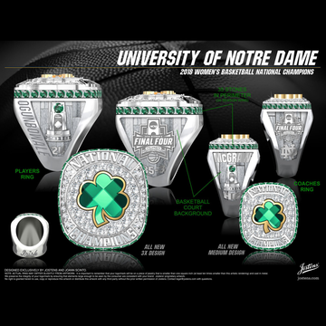 University of Notre Dame Women's Basketball 2018 National Championship Ring