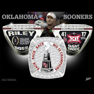 University of Oklahoma Men's Football 2017 Big 12 Championship Ring