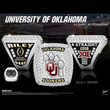 University of Oklahoma Men's Football 2018 Big 12 Championship Ring