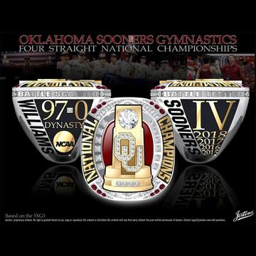 University of Oklahoma Men's Gymnastics 2018 National Championship Ring