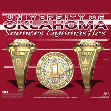 University of Oklahoma Women's Gymnastics 2017 Big 12 Championship Ring