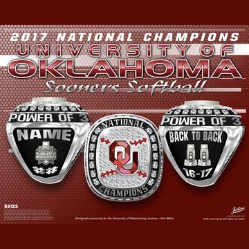 University of Oklahoma Women's Softball 2017 National Championship Ring