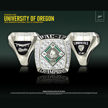 University of Oregon Women's Softball 2016 Pac-12 Championship Ring
