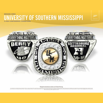 University of Southern Mississippi Men's Baseball 2017 Conference USA Championship Ring