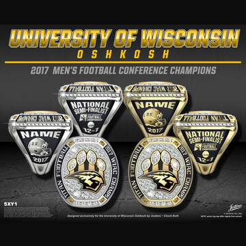 University of Wisconsin Oshkosh Men's Football 2017 WIAC Championship Ring