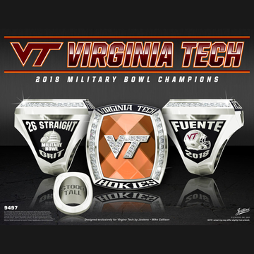 Virginia Tech Men's Football 2018 Military Bowl Championship Ring