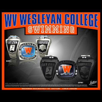 West Virginia Wesleyan College Men's Swimming & Diving 2018 Mountain East Championship Ring