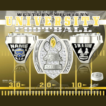 Western Michigan University Men's Football 2016 MAC Championship Ring